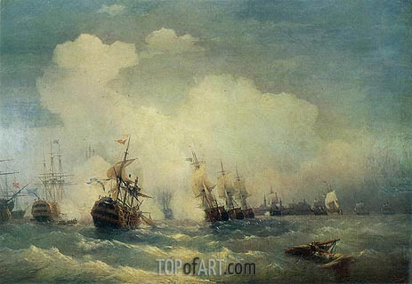 The Battle of Revel, 9 May 1790, 1846 | Aivazovsky | Painting Reproduction