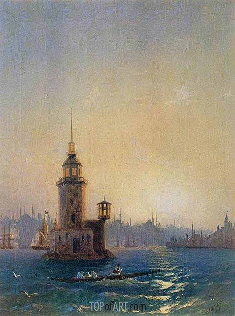 View of the Leander Tower, Constantinople, 1848 | Aivazovsky | Painting Reproduction