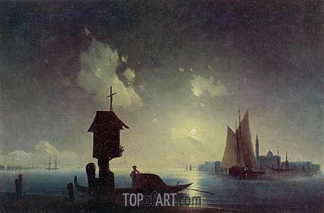 Sea View with a Chapel on the Shore, 1845 | Aivazovsky | Painting Reproduction