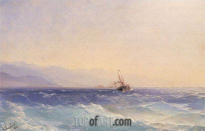 A Steamship off the Coast, 1882 | Aivazovsky | Painting Reproduction