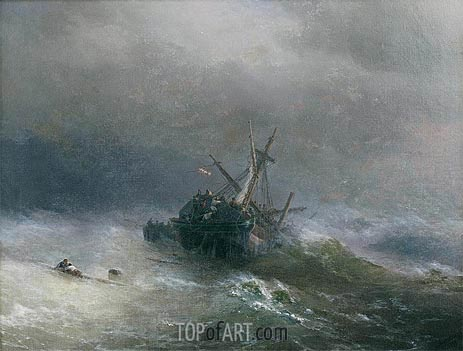 Lowering the Boats, 1878 | Aivazovsky | Painting Reproduction