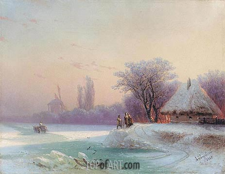 Perils of Winter Travel in the Russian Provinces, 1869   Aivazovsky   Painting Reproduction