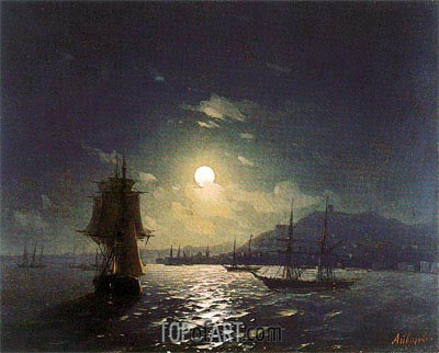 Shipping by a Moonlit Coast, Undated | Aivazovsky | Gemälde Reproduktion