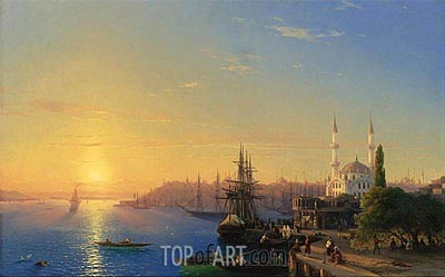 View of Constantinople and the Bosphorus, 1856 | Aivazovsky | Painting Reproduction