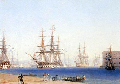 The Black Sea Fleet Entering the Harbour at Sevastopol, 1852 | Aivazovsky | Painting Reproduction