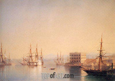 The Entrance to the Harbour at Sevastopol, 1852   Aivazovsky   Painting Reproduction