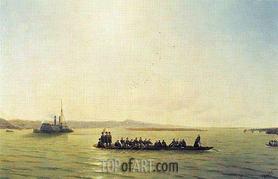 Alexander II Crossing the Danube, 1878 | Aivazovsky | Painting Reproduction