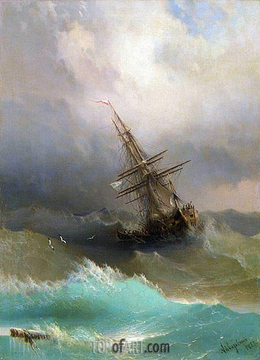 A Ship in the Stormy Sea, 1887 | Aivazovsky | Painting Reproduction