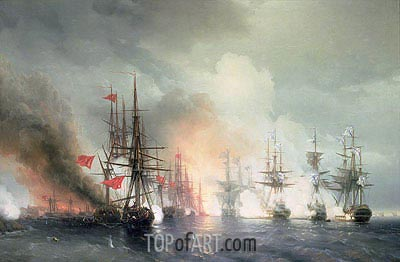 Russian-Turkish Sea Battle of Sinop on 18th November 1853, 1853 by  Aivazovsky