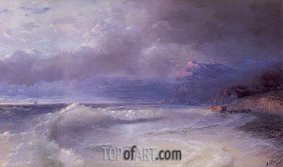 Shipwreck on a Stormy Morning, 1895 | Aivazovsky | Painting Reproduction
