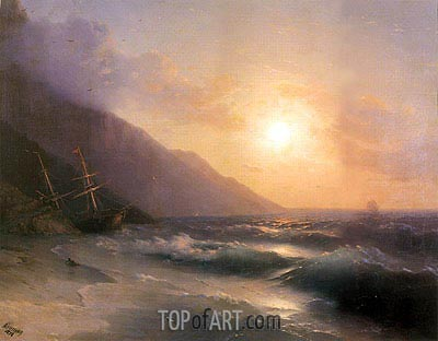 Shipwreck at Sunset, 1878 | Aivazovsky | Painting Reproduction