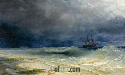 Ship in a Stormy Sea off the Coast, 1895 | Aivazovsky | Painting Reproduction