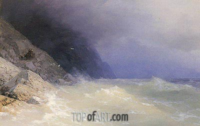 Rough Sea off a Rocky Coast, 1893 | Aivazovsky | Painting Reproduction