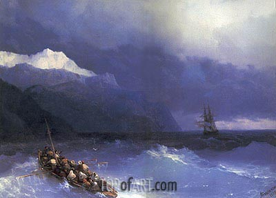 Rescue at Sea off a Mountainous Coast, 1868 | Aivazovsky | Painting Reproduction