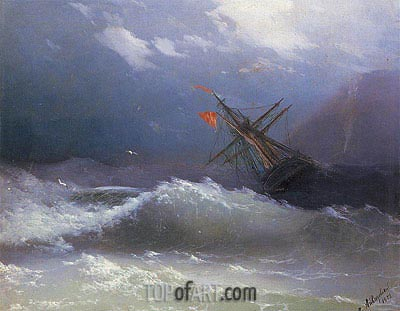 Ship in a Stormy Sea, 1858 | Aivazovsky | Painting Reproduction