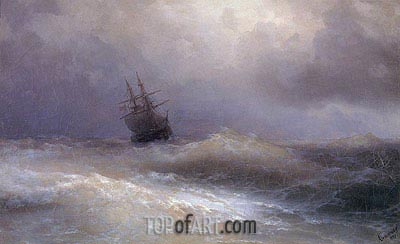 Ship in a Stormy Sea, 1887 | Aivazovsky | Painting Reproduction