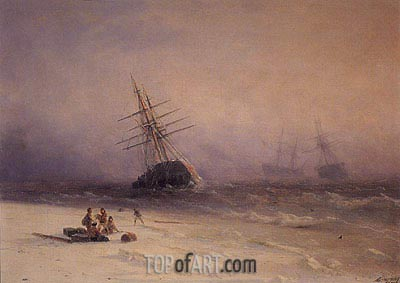 Shipwreck on the Black Sea, 1875 | Aivazovsky | Painting Reproduction