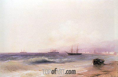 View of the Coast at Theodosia, 1878 | Aivazovsky | Painting Reproduction