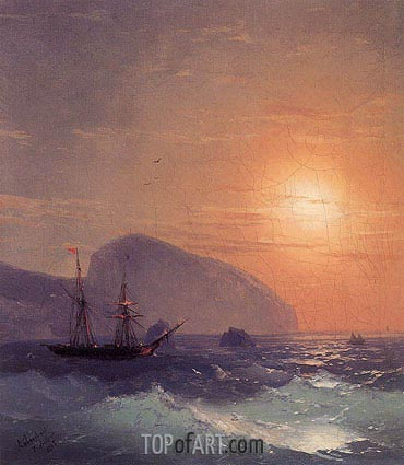 Sunset at Sea off Ayu Dag, Crimea, 1865 | Aivazovsky | Painting Reproduction