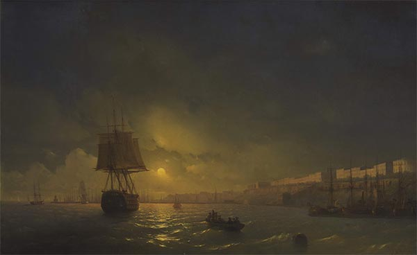 View of Odessa on a Moonlit Evening, 1846 | Aivazovsky | Painting Reproduction