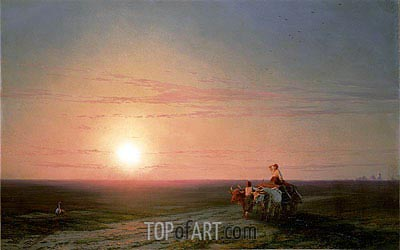 Peasants Returning from the Fields at Sunset, undated | Aivazovsky | Painting Reproduction