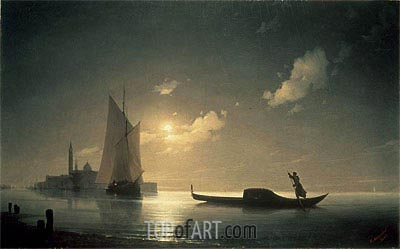 Gondolier at Sea by Night, 1843 | Aivazovsky | Painting Reproduction