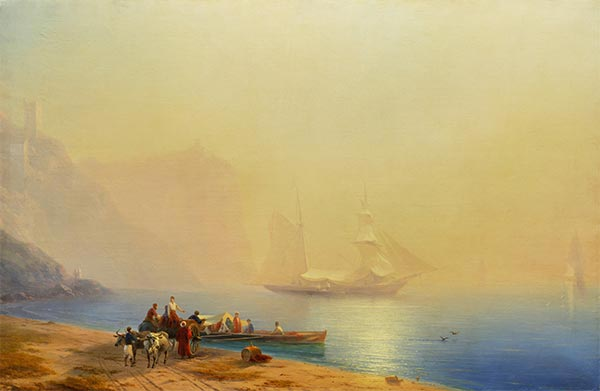 Morning on the Shore of the Sea, Sudak, 1856 | Aivazovsky | Painting Reproduction