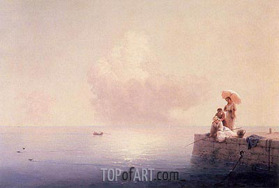 Elegant Ladies Fishing at the Water's Edge, 1870 | Aivazovsky | Painting Reproduction
