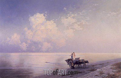An Ox-drawn Cart by a Tranquil Sea and a Swimmer Beyond, 1886 | Aivazovsky | Painting Reproduction
