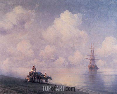 The Ox Cart on the Beach, 1873 | Aivazovsky | Painting Reproduction