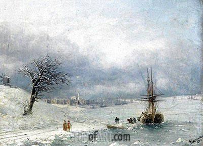 Winter Landscape, 1874 | Aivazovsky | Painting Reproduction