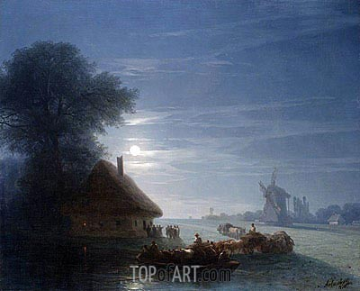 Ukrainian Landscape at Night, 1870 | Aivazovsky | Painting Reproduction