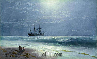 Moonlit Landing, 1895 | Aivazovsky | Painting Reproduction
