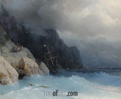 Survivors of a Shipwreck on a Rocky Path, 1868 | Aivazovsky | Painting Reproduction