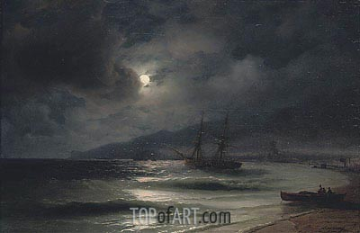 On the Coast at Night, 1875 | Aivazovsky | Gemälde Reproduktion