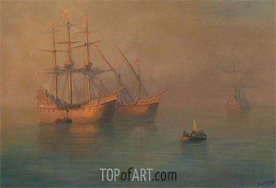 The Arrival of Columbus' Flotilla, 1880 | Aivazovsky | Painting Reproduction