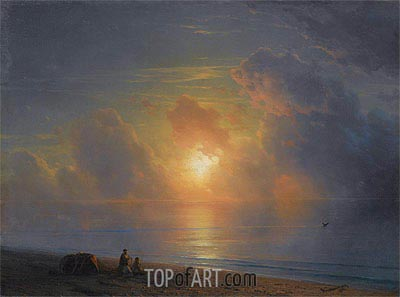 Sunset over the Crimean Coast, 1875 | Aivazovsky | Painting Reproduction