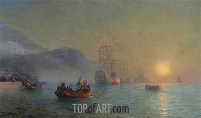 Columbus Sailing from Palos, 1892 | Aivazovsky | Painting Reproduction