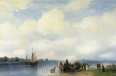 The Arrival of Peter I on Neva, 1853 | Aivazovsky | Painting Reproduction