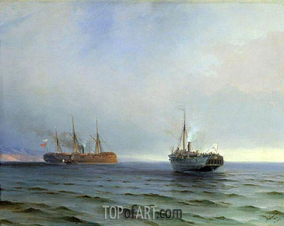 The Seizure of the Steamship 'Russia' the Turkish Military Ship 'Messina' in the Black Sea on Dec. 13, 1877, 1877 | Aivazovsky | Painting Reproduction