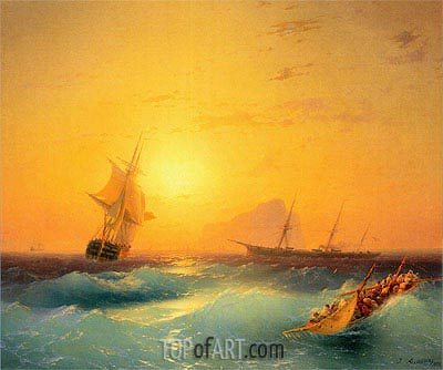 American Shipping off the Rock of Gibraltar, 1873 | Aivazovsky | Painting Reproduction