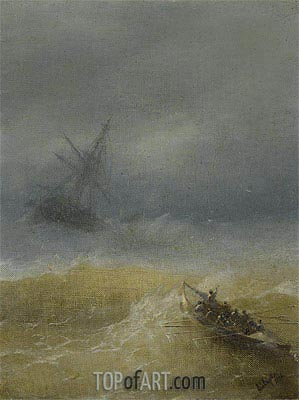 The Lifeboat, 1874 | Aivazovsky | Painting Reproduction