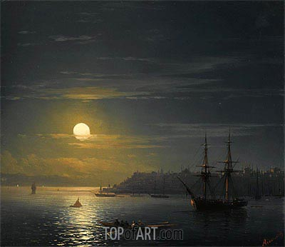 View of Constantinople in Moonlight, Undated | Aivazovsky | Painting Reproduction