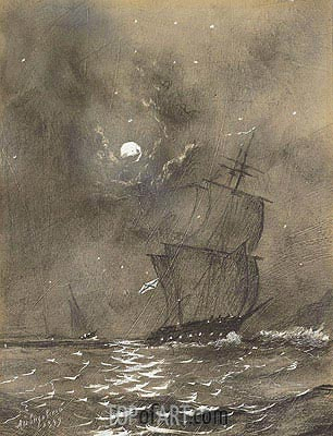 Vessels in Full Sail by Moonlight , Undated | Aivazovsky | Painting Reproduction