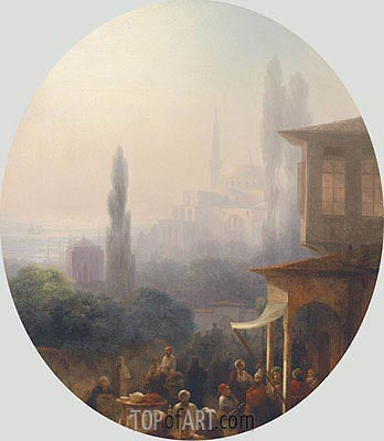 A Market Scene in Constantinople, 1860 | Aivazovsky | Painting Reproduction
