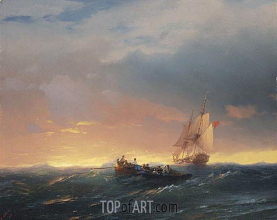 Vessels in a Swell at Sunset , 1850 | Aivazovsky | Painting Reproduction
