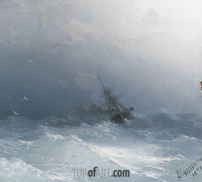 An American Steamer in Heavy Seas , 1873 | Aivazovsky | Gemälde Reproduktion