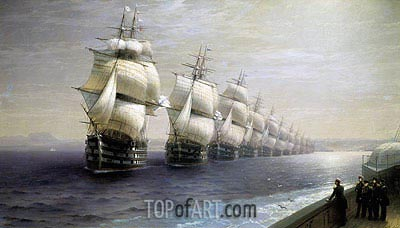 Review of the Black Sea Fleet, 1886 | Aivazovsky | Painting Reproduction