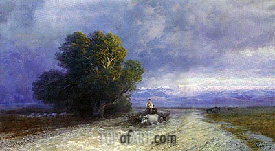 Ox Cart Crossing a Flooded Plain, 1897 | Aivazovsky | Painting Reproduction