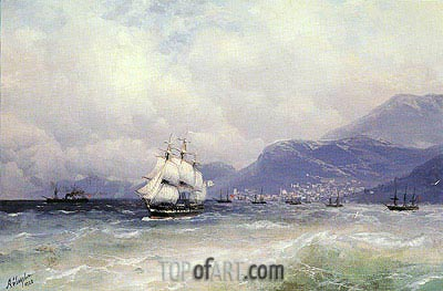 Russian and Turkish Shipping off Trabzon, 1888 by Aivazovsky